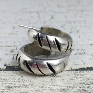 Sterling Silver Notched Hoop Earrings